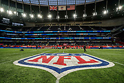 NFL emblem painted in the middle of the field at Tottenham Stadium during the International Series match between Tampa Bay Buccaneers and Carolina Panthers at Tottenham Hotspur Stadium, London, United Kingdom on 13 October 2019.