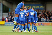 AFC Wimbledon midfielder Scott Wagstaff (7) celebrating after scoring goal during the EFL Cup match between AFC Wimbledon and Milton Keynes Dons at the Cherry Red Records Stadium, Kingston, England on 13 August 2019.