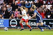 Viola Calligaris (#18) of Switzerland takes on Sophie Howard (#15) of Scotland during the 2019 FIFA Women's World Cup UEFA Qualifier match between Scotland Women and Switzerland at the Simple Digital Arena, St Mirren, Scotland on 30 August 2018.