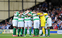 Yeovil Town hold their pre match huddle. - Photo mandatory by-line: Harry Trump/JMP - Mobile: 07966 386802 - 11/08/15 - SPORT - FOOTBALL - Capital One Cup - First Round - Yeovil Town v QPR - Huish Park, Yeovil, England.