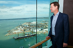 © Licensed to London News Pictures. 19/04/2015. Portsmouth, UK. Liberal Democrat leader Nick Clegg visits Spinnaker Tower in Portsmouth Harbour to campaign with Liberal Democrat candidate Gerald Vernon-Jackson on Sunday, 19 April 2015. Photo credit : Tolga Akmen/LNP
