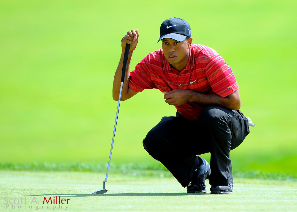Aug 16, 2009; Chaska, MN, USA; Tiger Woods (USA) lines up a shot on the 7th green during the final round of the 2009 PGA Championship at Hazeltine National Golf Club.  ©2009 Scott A. Miller