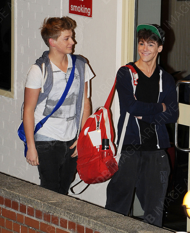 14.OCTOBER.2012. LONDON<br /> <br /> GREG AND DAN OF DISTRICT 3 LEAVING THE X-FACTOR STUDIOS AFTER THE RESLUTS SHOW.<br /> <br /> BYLINE: EDBIMAGEARCHIVE.CO.UK<br /> <br /> *THIS IMAGE IS STRICTLY FOR UK NEWSPAPERS AND MAGAZINES ONLY*<br /> *FOR WORLD WIDE SALES AND WEB USE PLEASE CONTACT EDBIMAGEARCHIVE - 0208 954 5968*