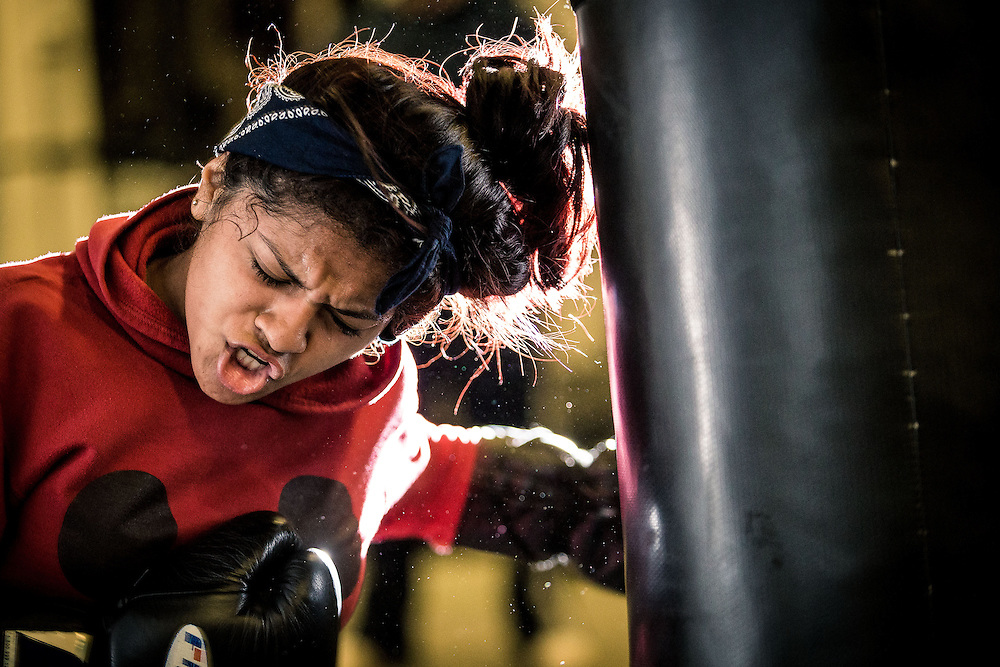 Boxers train on November 7, 2014 at La Habra Boxing Club in Costa Mesa, CA.