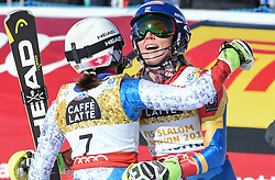 18.02.2017, St. Moritz, SUI, FIS Weltmeisterschaften Ski Alpin, St. Moritz 2017, Slalom, Damen, 2. Lauf, im Bild v.l. Wendy Holdener (SUI, Damen Slalom Silbermedaille), Mikaela Shiffrin (USA, Damen Slalom Weltmeisterin und Goldmedaille) // f.l. ladie's Slalom Silver medalist Wendy Holdener of Switzerland, Mikaela Shiffrin (USA Damen Slalom WeltmeisterinMikaela Shiffrin (USA Damen Slalom Weltmeisterin und Goldmedaille) celebrate after their 2nd run of ladie's Slalom of the FIS Ski World Championships 2017. St. Moritz, Switzerland on 2017/02/18. EXPA Pictures © 2017, PhotoCredit: EXPA/ Erich Spiess