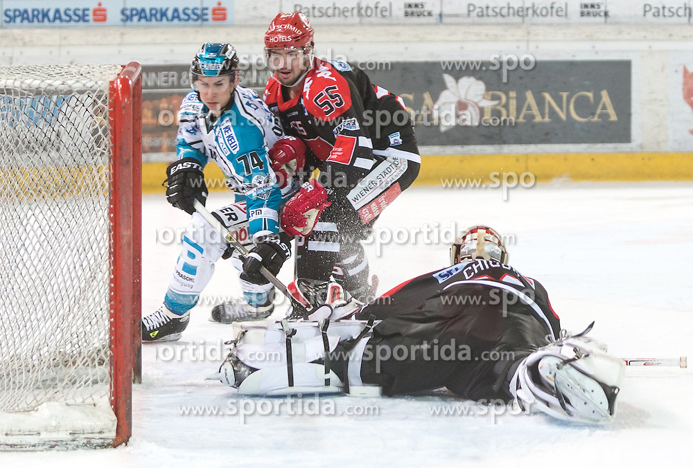 17.11.2015, Tiroler Wasserkraft Arena, Innsbruck, Österreich, EBEL, HC TWK Innsbruck die Haie vs EHC Liwest Black Wings Linz, 21. Runde, im Bild vl.:  Daniel Oberkofler (EHC Liwest Black Wings Linz), Nick Schaus (HC TWK Innsbruck  Die Haie), Andy Chiodo (HC TWK Innsbruck Die Haie) // during the Erste Bank Icehockey League 21st round match between HC TWK Innsbruck  die Haie and EHC Liwest Black Wings Linz at the Tiroler Wasserkraft Arena in Innsbruck, Austria on 2015/11/17. EXPA Pictures © 2015, PhotoCredit: EXPA/ Jakob Gruber
