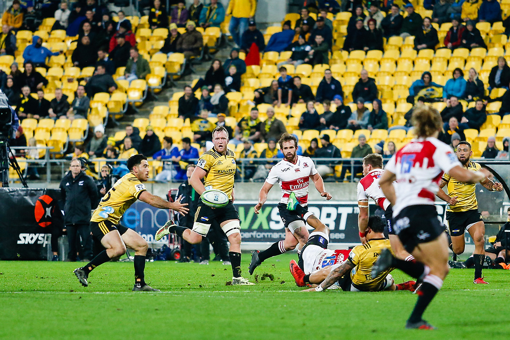 Nehe Milner-Skudder during the Super rugby (Round 12) match played between Hurricanes  v Lions, at Westpac Stadium, Wellington, New Zealand, on 5 May 2018.  Hurricanes won 28-19.