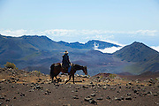 Horseback trail ride, Haleakala National Park, Maui, Hawaii