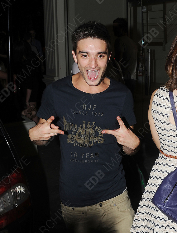 24.JULY.2012. LONDON<br /> <br /> TOM PARKER LEAVING MAHIKI NIGHT CLUB IN MAYFAIR LOOKING A LITTLE WORSE FOR WEAR AND HAS A SNOG WITH A GIRL IN THE CAB AND GETS LIPSTICK ALL OVER HIS LIPS AFTER CELEBRATING BANDMATE JAY'S 22ND BIRTHDAY.<br /> <br /> BYLINE: EDBIMAGEARCHIVE.CO.UK<br /> <br /> *THIS IMAGE IS STRICTLY FOR UK NEWSPAPERS AND MAGAZINES ONLY*<br /> *FOR WORLD WIDE SALES AND WEB USE PLEASE CONTACT EDBIMAGEARCHIVE - 0208 954 5968*