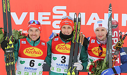 16.12.2017, Nordische Arena, Ramsau, AUT, FIS Weltcup Nordische Kombination, Langlauf, im Bild Podium v. l.: Fabian Riessle (GER, 2. Platz), Sieger Eric Frenzel (GER) und Jan Schmid (NOR, 3. Platz) // Podium f. l.: 2nd placed Fabian Riessle of Germany, winner Eric Frenzel of Germany and 3rd placed Jan Schmid of Norway during Cross Country Competition of FIS Nordic Combined World Cup, at the Nordic Arena in Ramsau, Austria on 2017/12/16. EXPA Pictures © 2017, PhotoCredit: EXPA/ Martin Huber