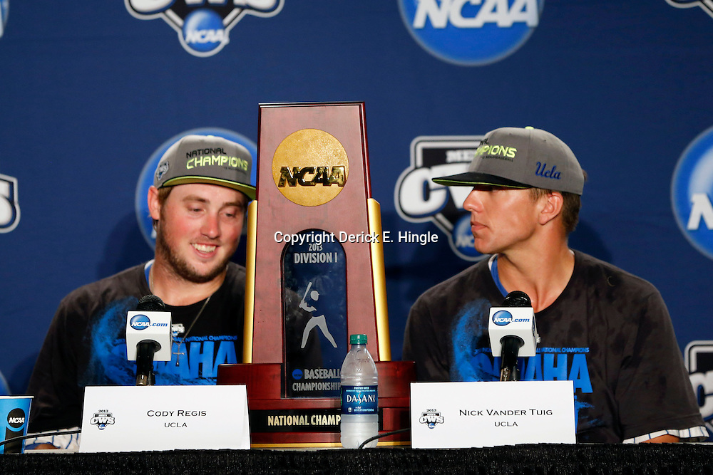 Jun 25, 2013; Omaha, NE, USA; UCLA Bruins second baseman Cody Regis (left) and starting pitcher Nick Vander Tuig (right) address the media in a press conference after game 2 of the College World Series finals against the Mississippi State Bulldogs at TD Ameritrade Park. UCLA defeated Mississippi State 8-0. Mandatory Credit: Derick E. Hingle-USA TODAY Sports