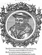 Leonhard Fuchs (1501-56) German botanist and physician. Fuchsia named after him. Woodcut