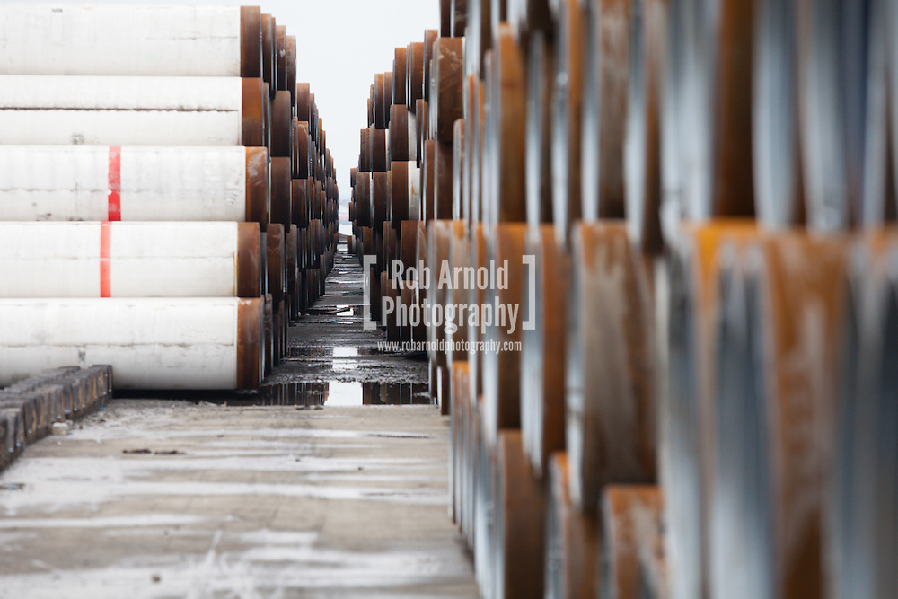 Piles of gas pipe, destined for the abandoned South Stream gas pipeline, in the port of Burgas, Bulgaria. Photo by Rob Arnold