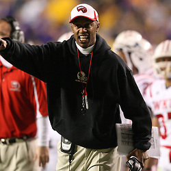 November 12, 2011; Baton Rouge, LA, USA;  Western Kentucky Hilltoppers head coach WillieTaggart against the LSU Tigers during the second quarter of a game at Tiger Stadium. LSU defeated Western Kentucky 42-9. Mandatory Credit: Derick E. Hingle-US PRESSWIRE
