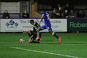 AFC Wimbledon striker Lyle Taylor (33) on the attack during the The Emirates FA Cup 1st Round Replay match between AFC Wimbledon and Bury at the Cherry Red Records Stadium, Kingston, England on 15 November 2016. Photo by Stuart Butcher.