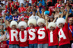 Fans of Russia during the UEFA EURO 2012 group A match between  Greece and Russia at The National Stadium on June 16, 2012 in Warsaw, Poland.  (Photo by Vid Ponikvar / Sportida.com)