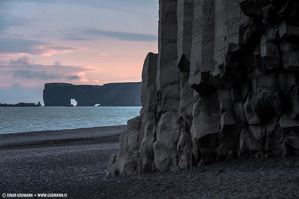 Dyrhólaey and the lava columns of Reynisdrangar.
