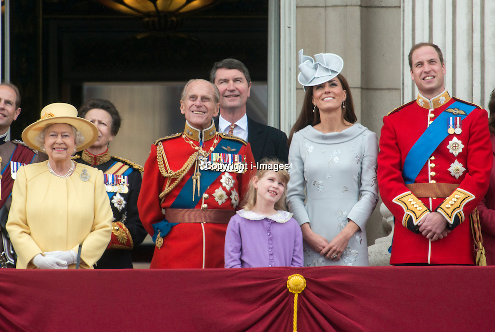 The Queen and members of the Royal family on the balcony of Buckingham Palace in London for Trooping The Colour, Saturday, 16th June 2012  Photo by: i-Images