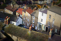 Architectural variety of styles, shapes, materials, textures and colours in this townscape on New Road, Richmond Yorkshire, UK
