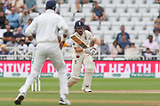 Ollie Pope of England plays a defensive shot during the 3rd International Test Match 2018 match between England and India at Trent Bridge, West Bridgford, United Kingdon on 21 August 2018.