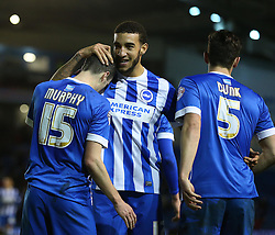 Jamie Murphy ( L ) of Brighton and Hove Albion celebrates with Connor Goldson ( C ) and Lewis Dunk after he scores to make it 3-0 - Mandatory byline: Paul Terry/JMP - 05/02/2016 - FOOTBALL - Falmer Stadium - Brighton, England - Brighton v Brentford - Sky Bet Championship