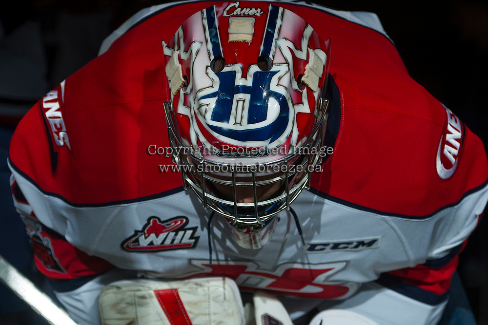 KELOWNA, CANADA - NOVEMBER 17: Stuart Skinner #74 of the Lethbridge Hurricanes stands in the tunnel prior to warm up against the Kelowna Rockets on November 17, 2017 at Prospera Place in Kelowna, British Columbia, Canada.  (Photo by Marissa Baecker/Shoot the Breeze)  *** Local Caption ***
