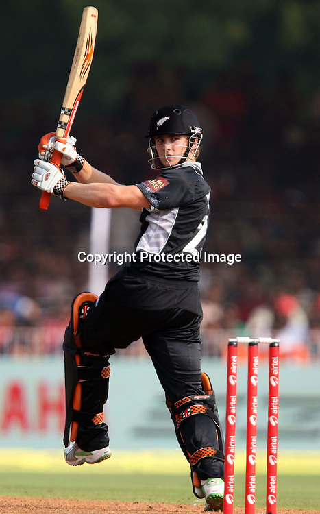 New Zealand Batsman Kane Williamson plays a shot aganist india during the 3rd ODI India vs New Zealand Played at Reliance Stadium, Vadodara, 4 December 2010 (50-over match)