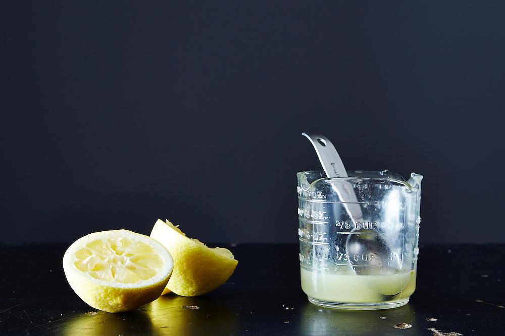Lemon juice lemonade measuring cup measuring spoon