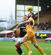 Motherwell's Joe Chalmers and Dundee's Mark O'Hara - Motherwell v Dundee in the Ladbrokes Scottish Premiership at Fir Park, Motherwell.Photo: David Young<br /> <br />  - © David Young - www.davidyoungphoto.co.uk - email: davidyoungphoto@gmail.com