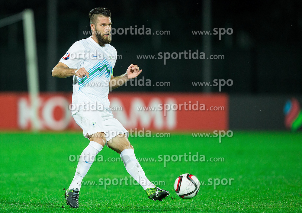Bostjan Cesar of Slovenia during football match between National teams of San Marino and Slovenia in Group E of EURO 2016 Qualifications, on October 12, 2015 in Stadio Olimpico Serravalle, Republic of San Marino. Photo by Vid Ponikvar / Sportida