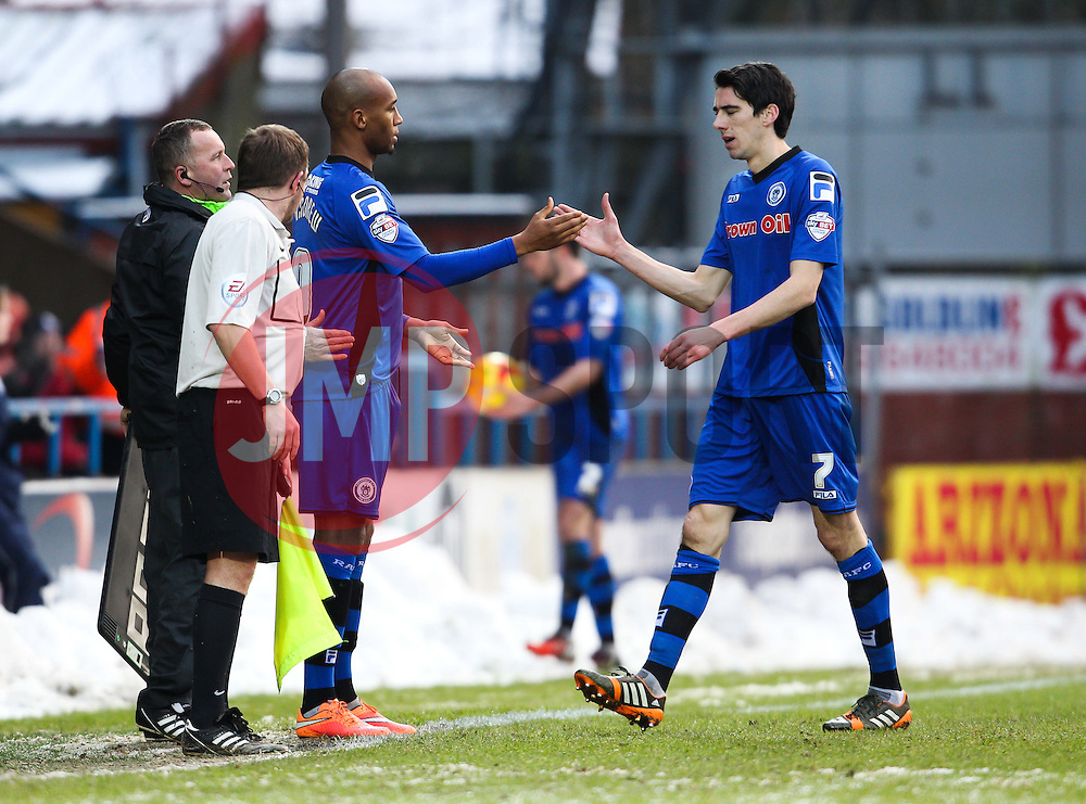 Rochdale's Peter Vincenti is substituted for Rochdale's Calvin Andrew after picking up an injury - Photo mandatory by-line: Matt McNulty/JMP - Mobile: 07966 386802 - 17.01.2015 - SPORT - Football - Rochdale - Spotland Stadium - Rochdale v Crawley Town - Sky Bet League One