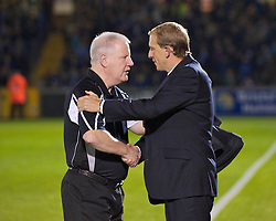 BRISTOL, ENGLAND - Tuesday, September 28, 2010: Tranmere Rovers' manager Les Parry and Bristol Rovers' manager Paul Trollope during the Football League One match at the Memorial Ground. (Photo by David Rawcliffe/Propaganda)