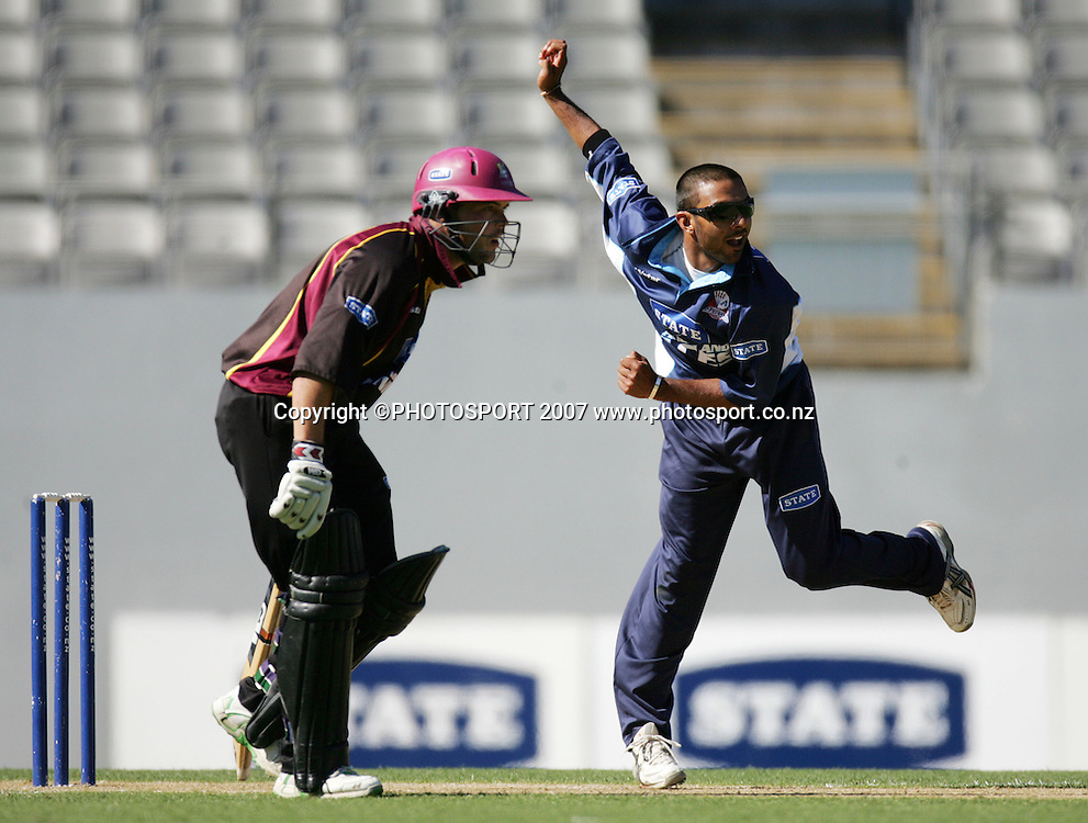 Auckland's Roneel Hira in action. State Auckland Aces v State Northern Knights. State Shield Cricket. Eden Park Outer Oval, Auckland, New Zealand. Sunday 30 December 2007. Photo: Hagen Hopkins/PHOTOSPORT