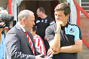 Managers Gary Johnson and Darryl Clarke before the Pre-Season Friendly match between Cheltenham Town and Bristol Rovers at Whaddon Road, Cheltenham, England on 25 July 2015. Photo by Antony Thompson.