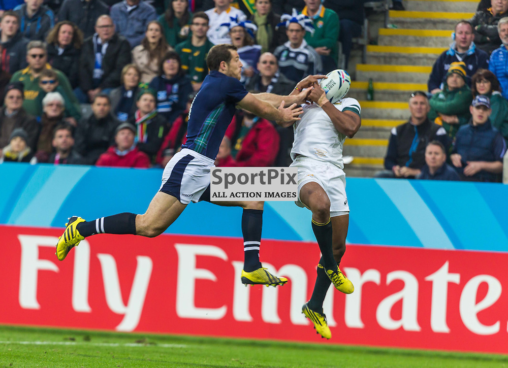 Tim Visser and J.P Pieterson in action during the Rugby World Cup match between Scotland and South Africa (c) ROSS EAGLESHAM | Sportpix.co.uk