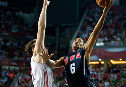 Omer Asik of Turkey vs Derrick Rose of USA during the finals basketball match between National teams of Turkey and USA at 2010 FIBA World Championships on September 12, 2010 at the Sinan Erdem Dome in Istanbul, Turkey.   (Photo By Vid Ponikvar / Sportida.com)
