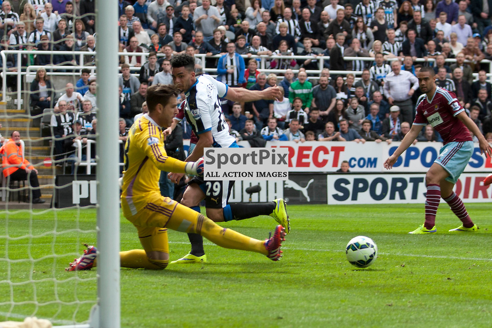 Emmanuel Riviere misses a sitter in the Newcastle v West Ham, Barclays Premiership match at St James&rsquo; Park, Newcastle 24 May 2014<br /><br />(c) Russell G Sneddon / SportPix.org.uk