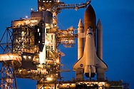 CAPE CANAVERAL, FL - JUNE 30:  Space Shuttle Discovery sits atop launch pad 39-b as the rotating service structure is rolled back in preparation for launch at the Kennedy Space Center in Cape Canaveral, FL, June 30, 2006. Discovery is scheduled to lift off on July 1, but is facing a 60% chance of weather prohibiting the launch. (Photo by Matt Stroshane/Getty Images)