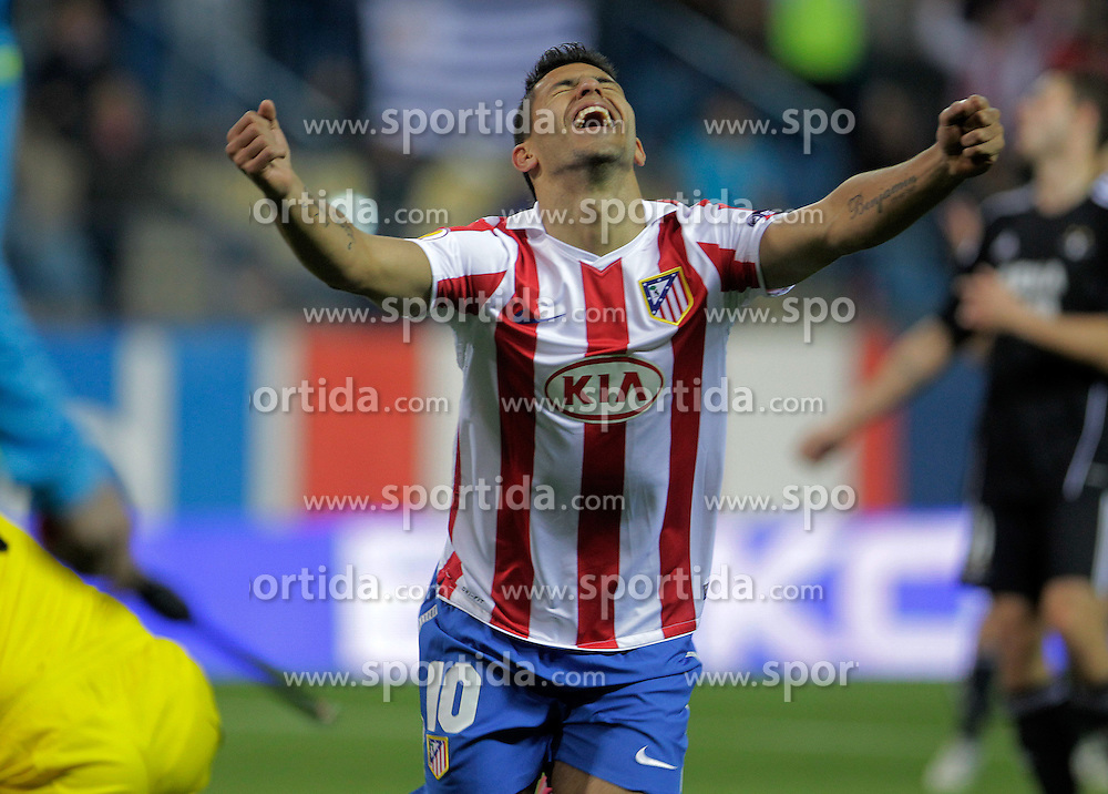 21.10.2010, Estadio Vicente Calderon, Madrid, ESP, UEFA EL, Atletico de Madrid vs Rosemborg, im Bild Atletico de Madrid's Kun Aguero celebrates goal. EXPA Pictures © 2010, PhotoCredit: EXPA/ Alterphotos/ Acero +++++ ATTENTION - OUT OF SPAIN / ESP +++++
