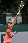 Oksana Kalashnikova from Georgia competes in women's doubles first round while Day Fourth during Roland Garros 2014 at Roland Garros Tennis Club in Paris, France.<br /> <br /> France, Paris, May 28, 2014<br /> <br /> Picture also available in RAW (NEF) or TIFF format on special request.<br /> <br /> For editorial use only. Any commercial or promotional use requires permission.<br /> <br /> Mandatory credit:<br /> Photo by &copy; Adam Nurkiewicz / Mediasport