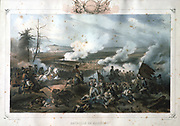 Battle of Marengo, 14 June 1800. French forces under Napoleon defeated Austrians. The French General Louis Desaix mortally wounded.  He died on 30 May.   Hand coloured lithograph.