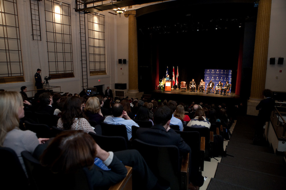 The Sauve Scholars and Michaelle Jean, Governor General of Canada, speak at the 2010 Jeanne Sauve Address at McGill University in Montreal, Canada on February 18th, 2010.