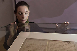 The last letter of Mary Queen of Scots written just six hours before her execution is on public display at the National Library of Scotland on the 430th anniversary of her death.<br /> <br /> The letter was written at 2am on 8 February 1857 as Mary prepared to meet her death at Fotheringay Castle. Writing to Henri III, King of France, the brother of her first husband, she says &quot;I am to be executed like a criminal at eight in the morning&quot;.<br /> <br /> The letter is pictured with Ciara McDermott, Exhibitions Office at the NLS.