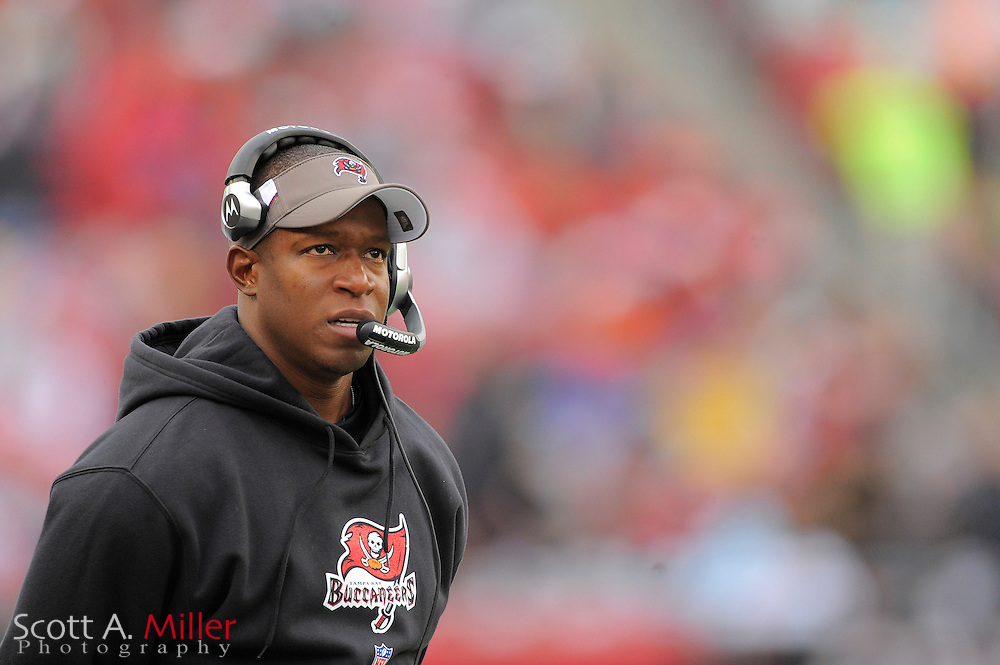 Jan. 3, 2010; Tampa, FL, USA; Tampa Bay Buccaneers coach Raheem Morris during his team's 20-10 loss to the Atlanta Falcons at Raymond James Stadium. ©2009 Scott A. Miller