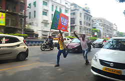 May 23, 2019 - Kolkata, West Bengal, India - BJP supporter's celebrating their win in west Bengalat Loksabha Election 2019 nera their party HQ in Kolkata on 23/05/2019 (Credit Image: © Sumit Sanyal/ZUMA Wire)