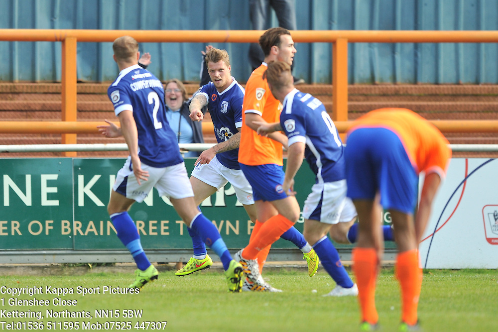 Barrow Super Sub Dan Pilkington fires in Barrows Equaliser 1-1 and Celebrates,  Braintree Town v Barrow AFC, Avanti Stadium Braintree, Vanarama National League, Saturday, 12th September 2015. Braintree Town v Barrow AFC, Avanti Stadium Braintree, Vanarama National League, Saturday, 12th September 2015.