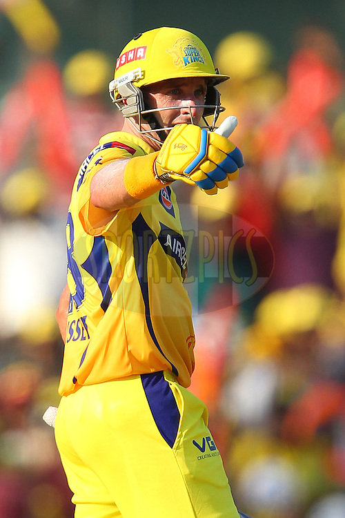 Michael Hussey celebrates his fifty during match 38 of the Pepsi Indian Premier League between The Chennai Superkings and the Kolkata Knight Riders held at the MA Chidambaram Stadiumin Chennai on the 28th April 2013..Photo by Ron Gaunt-IPL-SPORTZPICS   .. .Use of this image is subject to the terms and conditions as outlined by the BCCI. These terms can be found by following this link:..http://www.sportzpics.co.za/image/I0000SoRagM2cIEc