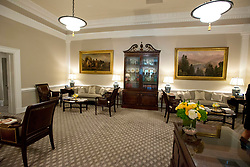 Very high resolution view of the newly renovated interior of the Roosevelt Room in the White House in Washington, DC on Tuesday, August 22, 2017. When seated at the table, the President's chair is the larger one in the center of the table in front of the American Flag. The doorway that leads to the hallway across from the Oval Office is the one on the right in the background near the center of the photo. The carpet is new. 22 Aug 2017 Pictured: Very high resolution view of the newly renovated interior of the West Wing Lobby in the White House in Washington, DC on Tuesday, August 22, 2017. This view is what a visitor would see from the doorway as they enter the lobby. The reception desk is at lower right and the sitting area includes two couches. The carpet is new. Credit: Ron Sachs / CNP. Photo credit: Ron Sachs - CNP / MEGA TheMegaAgency.com +1 888 505 6342