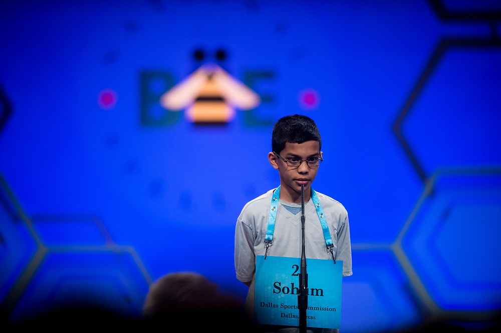 Jason Sorin, 11, from Durham, N.C., participates in the finals of the 2017 Scripps National Spelling Bee on Thursday, June 1, 2017 at the Gaylord National Resort and Convention Center at National Harbor in Oxon Hill, Md.      Photo by Pete Marovich/UPI