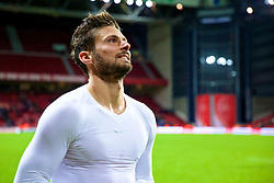 COPENHAGEN, DENMARK - Sunday, October 11, 2015: France's Olivier Giroud throwing jersey to fans after the 1-2 friendly game against at Parken Stadium. (Pic by Lexie Lin/Propaganda)
